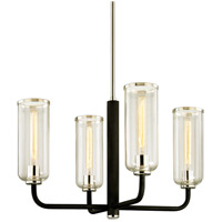 Troy Lighting F6274 Aeon 4 Light 29 inch Carbide Black with Polished Nickel Chandelier Ceiling Light