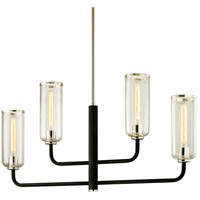 Aeon 4 Light 43 inch Carbide Black with Polished Nickel Linear Pendant Ceiling Light