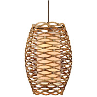 Troy Lighting F6746 Balboa 6 Light 21 inch Bronze and Natural Rattan Pendant Ceiling Light photo thumbnail