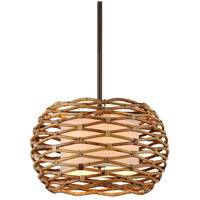 Troy Lighting F6747 Balboa 6 Light 28 inch Bronze and Natural Rattan Pendant Ceiling Light