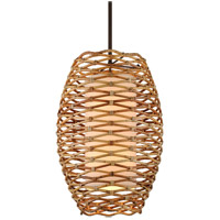 Bronze and Natural Rattan Pendants