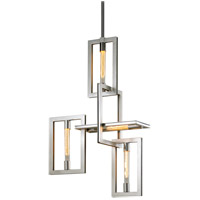 Troy Lighting F7104 Enigma 4 Light 24 inch Silver Leaf with Stainless Accents Pendant Ceiling Light