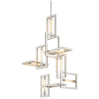 Troy Lighting F7107 Enigma 7 Light 25 inch Silver Leaf with Stainless Accents Pendant Ceiling Light