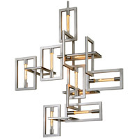 Troy Lighting F7109 Enigma 9 Light 31 inch Silver Leaf with Stainless Accents Pendant Ceiling Light