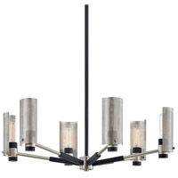 Troy Lighting F7116 Pilsen 6 Light 30 inch Carb Black with Satin Nickel Accents Pendant Ceiling Light