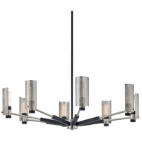 Troy Lighting F7118 Pilsen 8 Light 40 inch Carb Black with Satin Nickel Accents Chandelier Ceiling Light