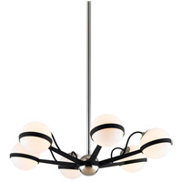 Troy Lighting F7163 Ace 6 Light 28 inch Carb Black with Polished Nickel Accents Chandelier Ceiling Light