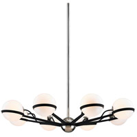 Troy Lighting F7164 Ace 8 Light 38 inch Carb Black with Polished Nickel Accents Chandelier Ceiling Light