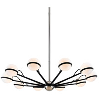 Troy Lighting F7166 Ace 10 Light 50 inch Carb Black with Polished Nickel Accents Chandelier Ceiling Light