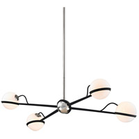 Troy Lighting F7167 Ace 4 Light 50 inch Carb Black with Polished Nickel Accents Island Light Ceiling Light