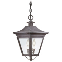 Oxford 2 Light 10 inch Charred Iron Outdoor Hanging Lantern in Clear