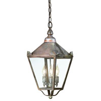 Preston 3 Light 10 inch Natural Rust Outdoor Hanging Lantern in Clear