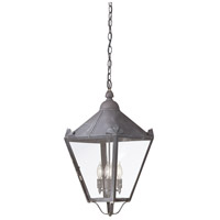 Preston 4 Light 13 inch Charred Iron Outdoor Hanging Lantern in Clear