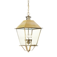 Montgomery 4 Light 14 inch Natural Aged Brass Outdoor Hanging Lantern in Clear Seeded