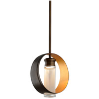 Troy Lighting Insight - LED Pendant - 12 inchW - Modern Bronze and Gold Leaf - Silver Perforated Metal FL4896