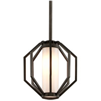 Troy Lighting Boundary - Outdoor LED Outdoor Pendant - Textured Graphite Finish - Gloss Opal Glass FL4987