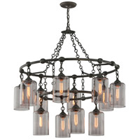 Troy Lighting F4425 Gotham 12 Light 38 inch Aged Silver Pendant Ceiling Light