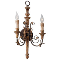 Troy Lighting Luxembourg 2 Light Wall Sconce in Distress Gold Leaf Wood B4532