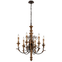 Luxembourg 6 Light 25 inch Distress Gold Leaf Wood Chandelier Ceiling Light