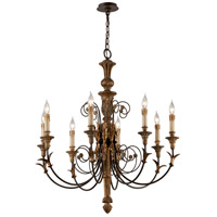 Luxembourg 8 Light 33 inch Distress Gold Leaf Wood Chandelier Ceiling Light