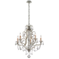 Montparnasse 5 Light 28 inch Silver Leaf Chandelier Ceiling Light