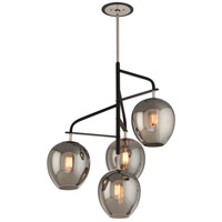 Troy Lighting Odyssey 4 Light Pendant in Carbide Black and Polished Nickel F4296
