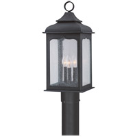 Henry Street 3 Light 22 inch Colonial Iron Post Lantern in Incandescent