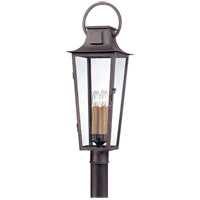 Parisian Square 4 Light 30 inch Aged Pewter Post Lantern in Incandescent