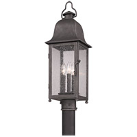 Larchmont 3 Light 25 inch Aged Pewter Post in Incandescent