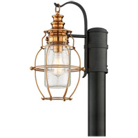 Troy Lighting Little Harbor 1 Light Outdoor Post Lantern in Aged Brass With Forged Black Accents P3575