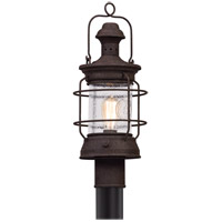 Troy Lighting Atkins - Post Mount - Centennial Rust Finish - Clear Textured Glass P5055