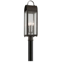 Bostonian 3 Light 22 inch Charred Iron Post Mount