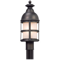 Troy Lighting Webster - Post Mount - Incandescent - Vintage Bronze Finish - Clear Seeded Outside/ Frosted Inside Glass P5155