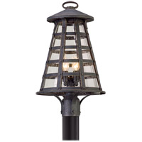 Troy Lighting Benjamin - Post Mount - Vintage Iron Finish - Clear Seeded Glass P5165