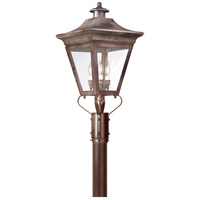 Oxford 3 Light 29 inch Natural Rust Post Lantern in Clear