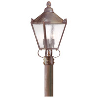 Preston 3 Light 20 inch Natural Rust Post Lantern in Clear