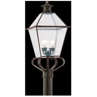Montgomery 4 Light 32 inch Natural Rust Post Lantern in Clear Seeded