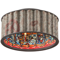 Street Art 4 Light 18 inch Weathered Galvanized Street Art Semi-Flush Ceiling Light