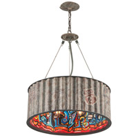 Street Art 5 Light 25 inch Weathered Galvanized Street Art Pendant Ceiling Light