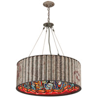 Street Art 6 Light 32 inch Weathered Galvanized Street Art Pendant Ceiling Light