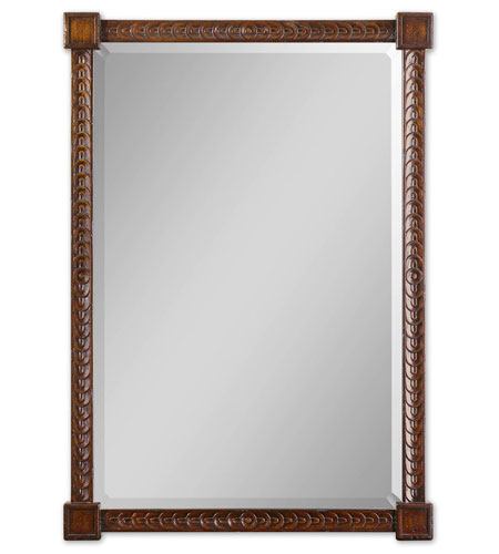 Uttermost 01902 Sabadell 47 X 33 inch Jacobean Stained Primavera & Hardwood Wall Mirror
