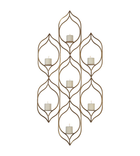 Uttermost 04049 Rovena 29 inch Antiqued Gold Wall Sconce Wall Light, Candle
