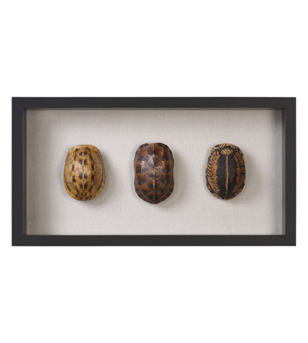 Uttermost 04068 Tortoise Shells Oatmeal Linen/Matte Black Shadow Box, Hand Painted