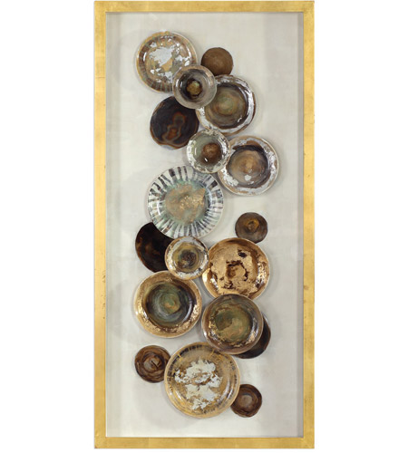 Uttermost 04152 Myla Multicolored and Metallic Gold Leaf Antique Plate Shadow Box