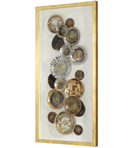 Uttermost 04152 Myla Multicolored and Metallic Gold Leaf Antique Plate Shadow Box 04152_A.jpg