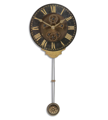Uttermost 06007 Mini Leonardo Black Wall 14 X 6 inch Wall Clock