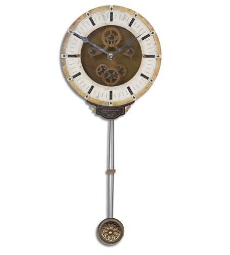 Uttermost 06008 Mini Leonardo Cream Wall 14 X 6 inch Wall Clock
