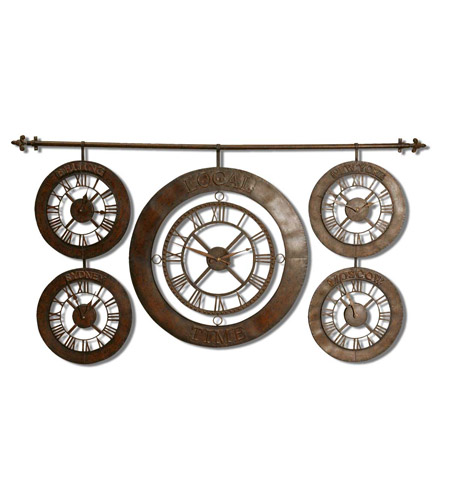 Uttermost 06909 Time Zones 63 X 34 inch Wall Clock