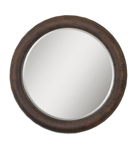 Uttermost 07048 Ringo 36 X 36 inch Distressed Rust Bronze Over A Textured Surface Wall Mirror
