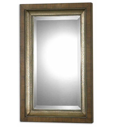 Uttermost 07619 Raton 37 X 23 inch Lightly Stained Hammered Aluminum Wall Mirror